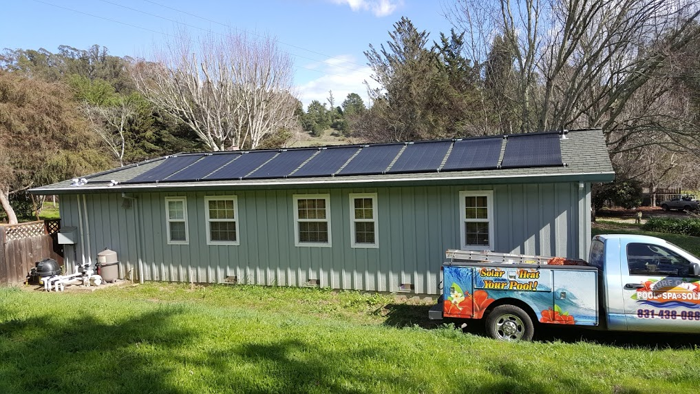 Solar heating panels for dog therapy pool in Aptos, CA