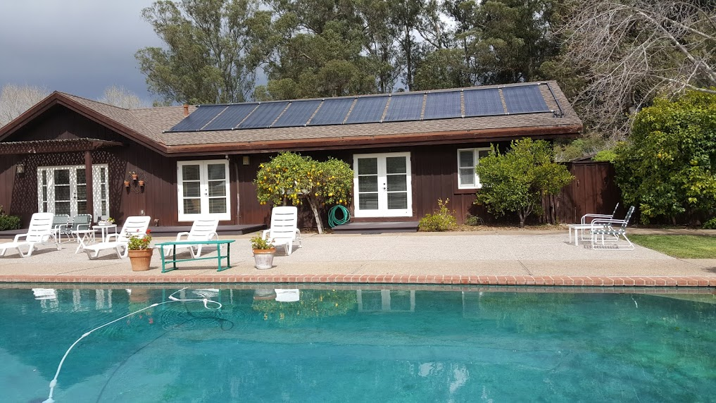 roof mount solar heating for therapy pool