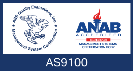 illustrated certification badge for AS9100 accreditation by ANAB