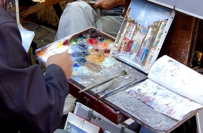 Detalhe de um pintor em Montmartre (photo: Benjamín Núñez González)