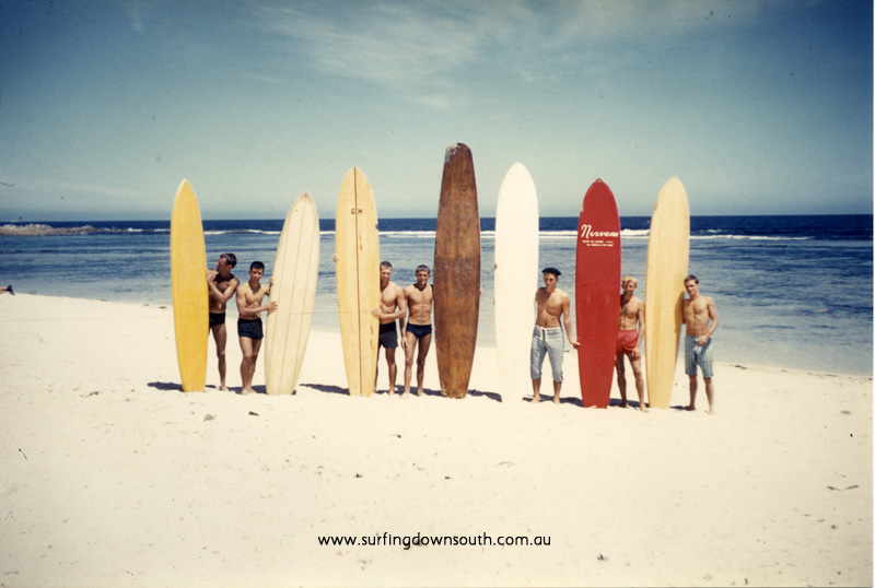 1959 Yalls beach boys & boards R Nelmes, B Cole, J Keenan, D Gaines, L Burke, J Budge, A Taylor - unknown picA