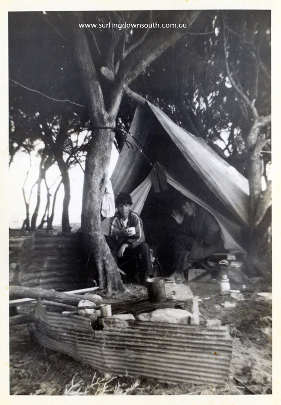 1964 Cowaramup Bay campsite Arthur Sherburn & Warren Barrett in teepee 'home away from home' - Arthur Sherburn pic img180