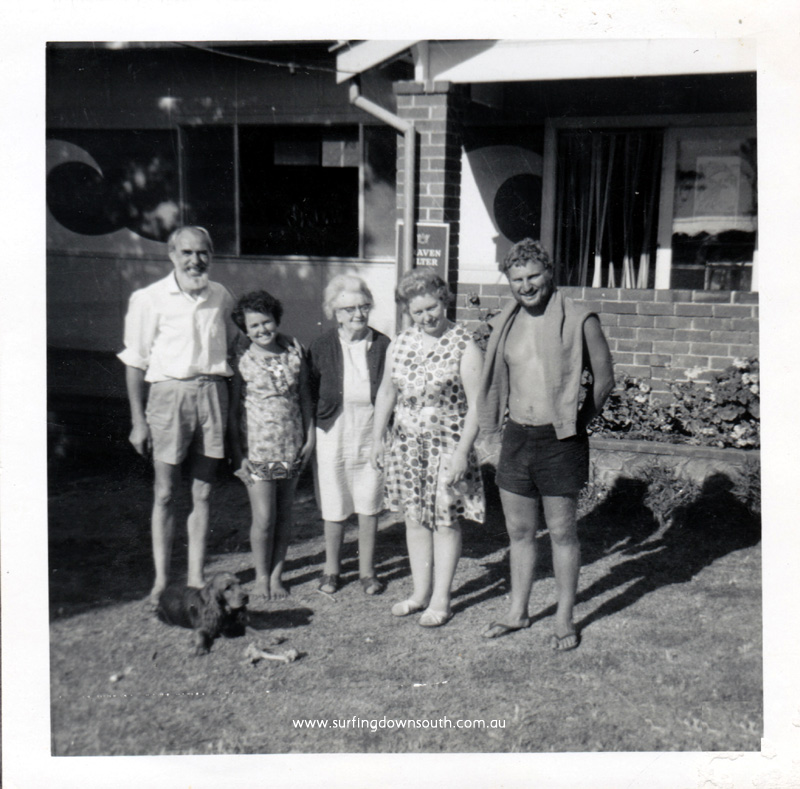 1969 Yalls Surfside Shop owner Bernie, wife Eve, grandma , daughter Angie & unknown P Mac pic