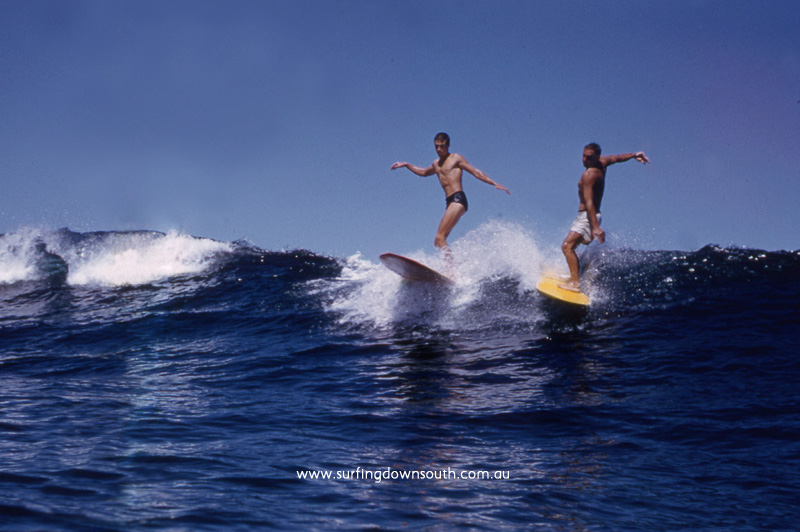 1957 Yalls Col Taylor & Bruce 'Moonshine' Hill surfing main break - John Budge pic img580 croppedA