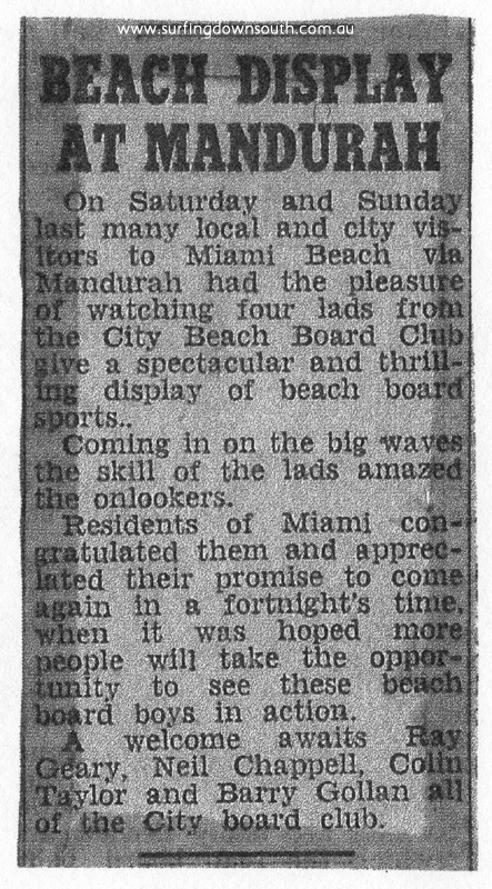 1954 City Beach Board Club display - Miami News - image courtesy Ray Geary