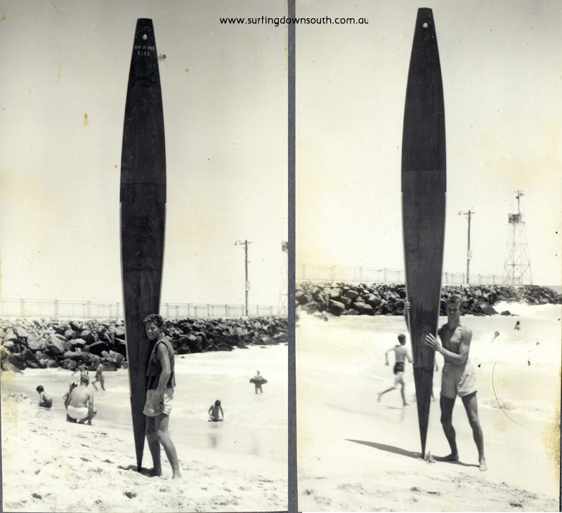 1950s City Beach Ron Drage & Dave Williams with toothpick surfboards - J Budge pics