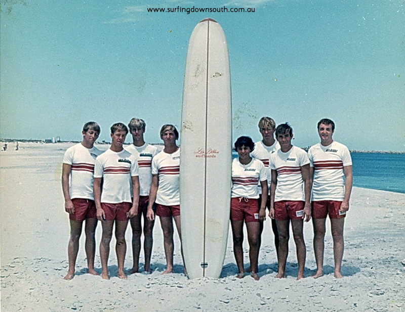 1965 Len Dibben surf team Leighton Beach L-R Rod Slater,Dave Richards,Jeff Jowlett,Steve Farbus,Tina Christon,Peter Stephens,Art Sherburn,Doug White-Len Dibben pic 01