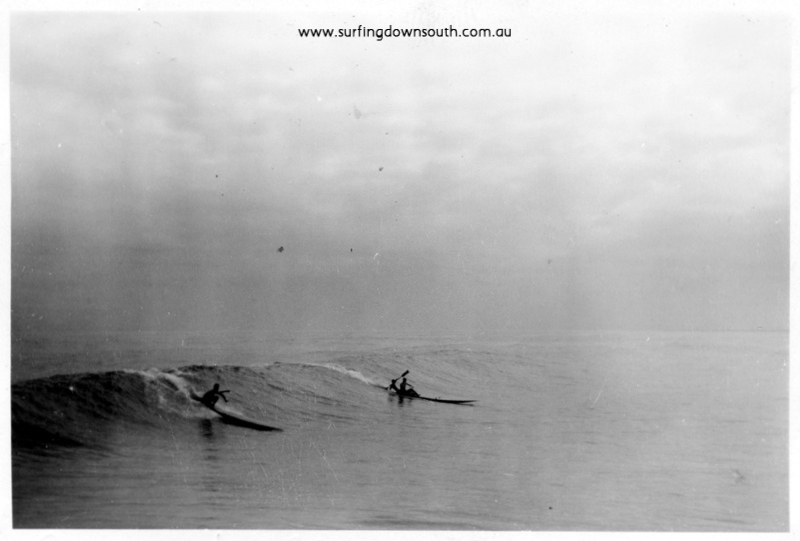 1956 City Beach Dave Williams toothpick board and Jim Keenan & Cocko Killen on double ski - Ray GearyA