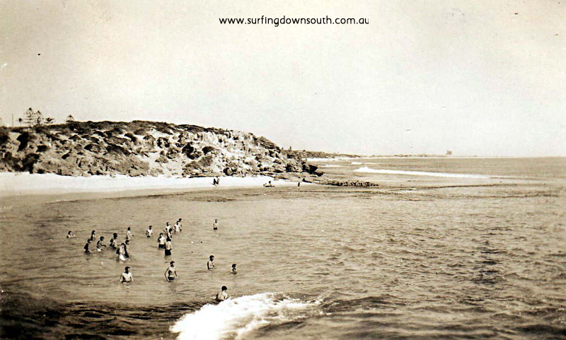 1947 Cottesloe Beach pre groyne. (old jetty blown up 1952 to make way for rock groyne in 1959).- K King pic