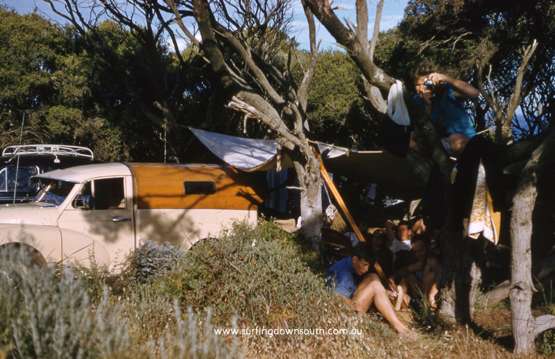 1958 Yalls camp site Ken Hamer,  Joe King & Owen Oates. Joe's Morris Minor ute with home mdae plywood canopy - Brian Cole pic img145
