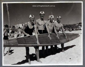 Surfing Down South 1950s City Beach clubbies Ron Drage, Dave Williams, Cocko Killen, E Mickle - John Budge pic img366