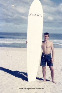 Surfing Down South - 1957 Yalls Dave Williams & malibu balsa board. Photo: John Budge
