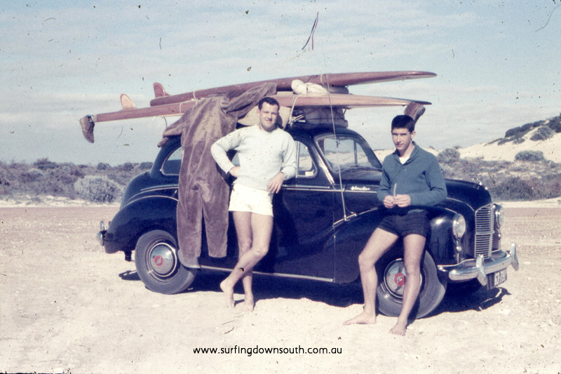 1957 City Beach Ian Scott & Brian Cole with Austin A40, hollow ply surfboards (Brian 10ft Malibu & Ian 14ft Toothpick) & WW2 flying suit - JB pic img586