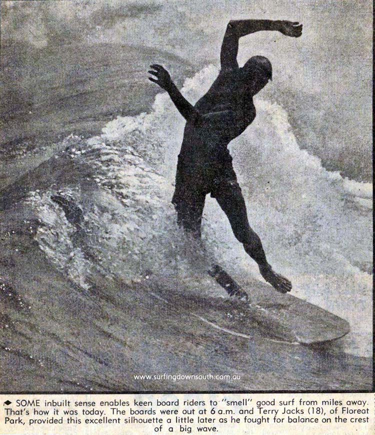 1963 City Beach Terry Jacks surfing ex newspaper