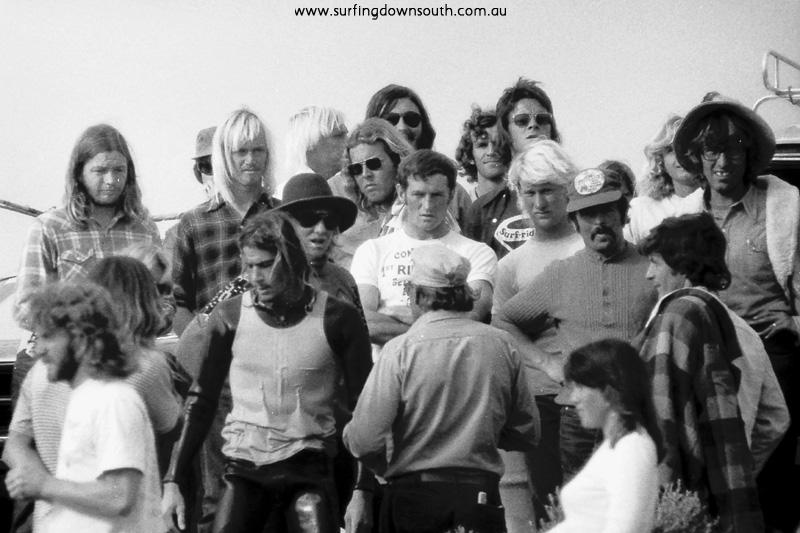1973 Marg River Aust Surf Titles Michael Peterson (Qsld) Trev Burslem Tom Blaxell Errol Considine, Doug Claw Warbrick (Vic) - Ric Chan1
