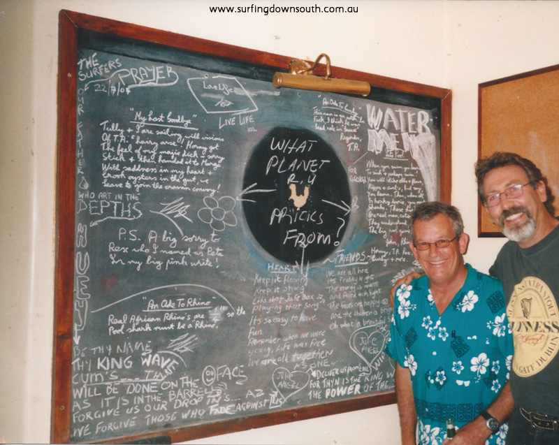 2003-4 Yalls Caves House Last scratchings from the Caves house darts blackboard proir to renovations - T Blaxell2