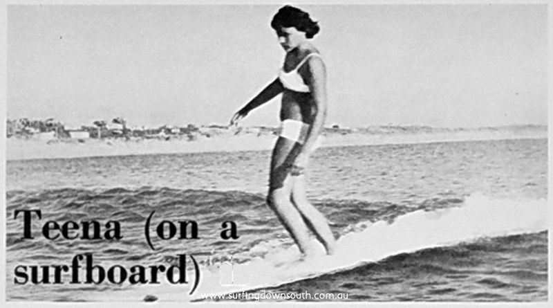 1965 Tina Christon (15) surfing Miami Bay ex Womans Day article