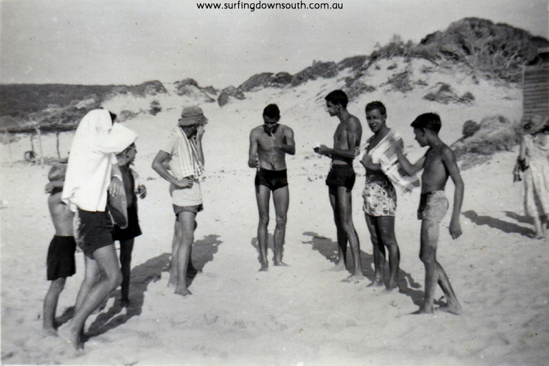 1955 Yalls beach people inc Bernie Huddle centre, Howard Kent 2nd right & Ian Strongman right- J Budge pic img358