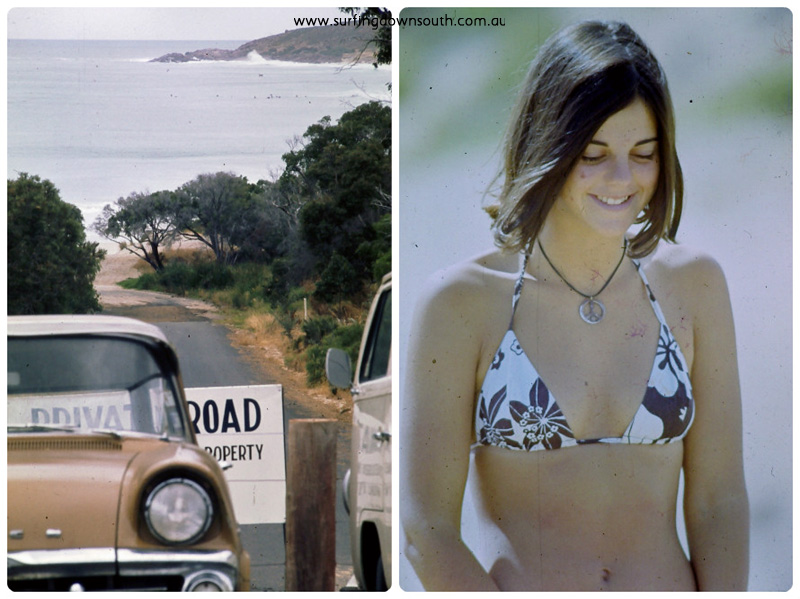 1970s The Farm private road & girl collage_photocat