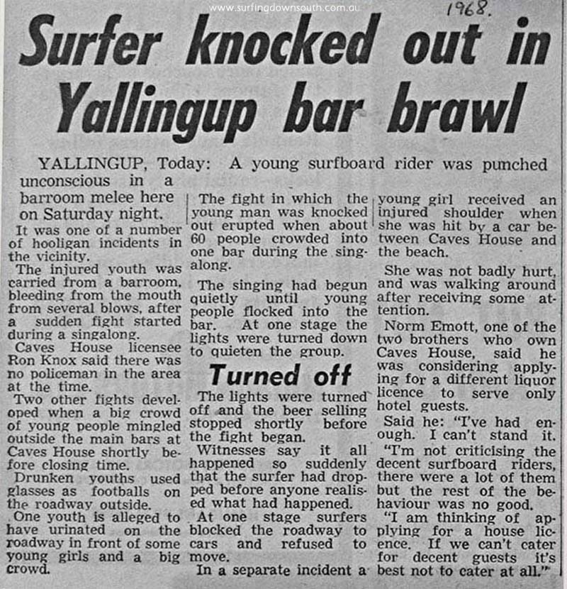 1968 Caves House Yalls pub brawl