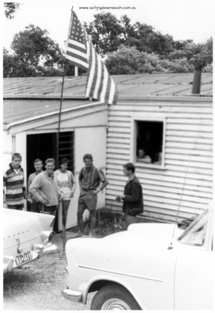 1962 Yalls WCBC shack J McKenzie, Gary Birch, Eric Hamer, Julie Paterson, Alan Hamer & Norm Silver - Brian Cole pic img267