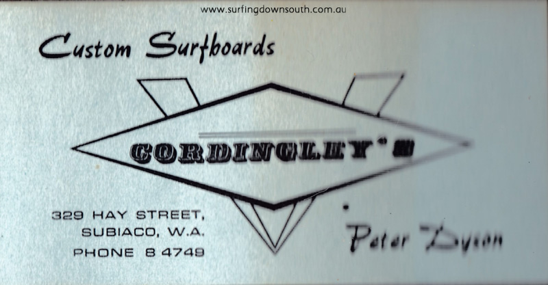 1966 Cordingley Surfboards business card Peter Dyson - PD image IMG_0062