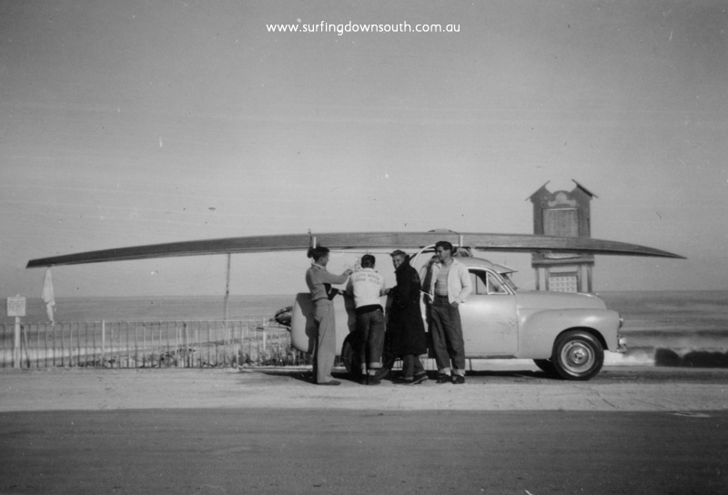 1956 City Beach 4 man ski on Ray's Holden ute C Taylor, N Chapple, R Geary, Rob Wakefield - Ray Geary1