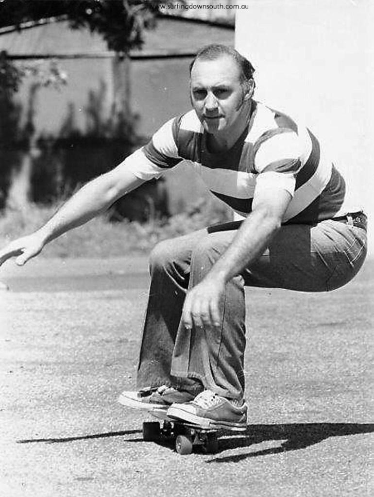 1970 Len Dibben riding skateboard car park North Freo - Len Dibben pic1