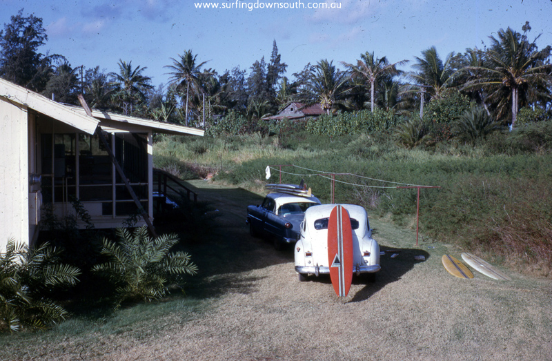 1963 Hawaii Velysland BC's & Seal Beach Calif boys shack & BC's red Harbour surfboard $90 US - B Cole pic img665