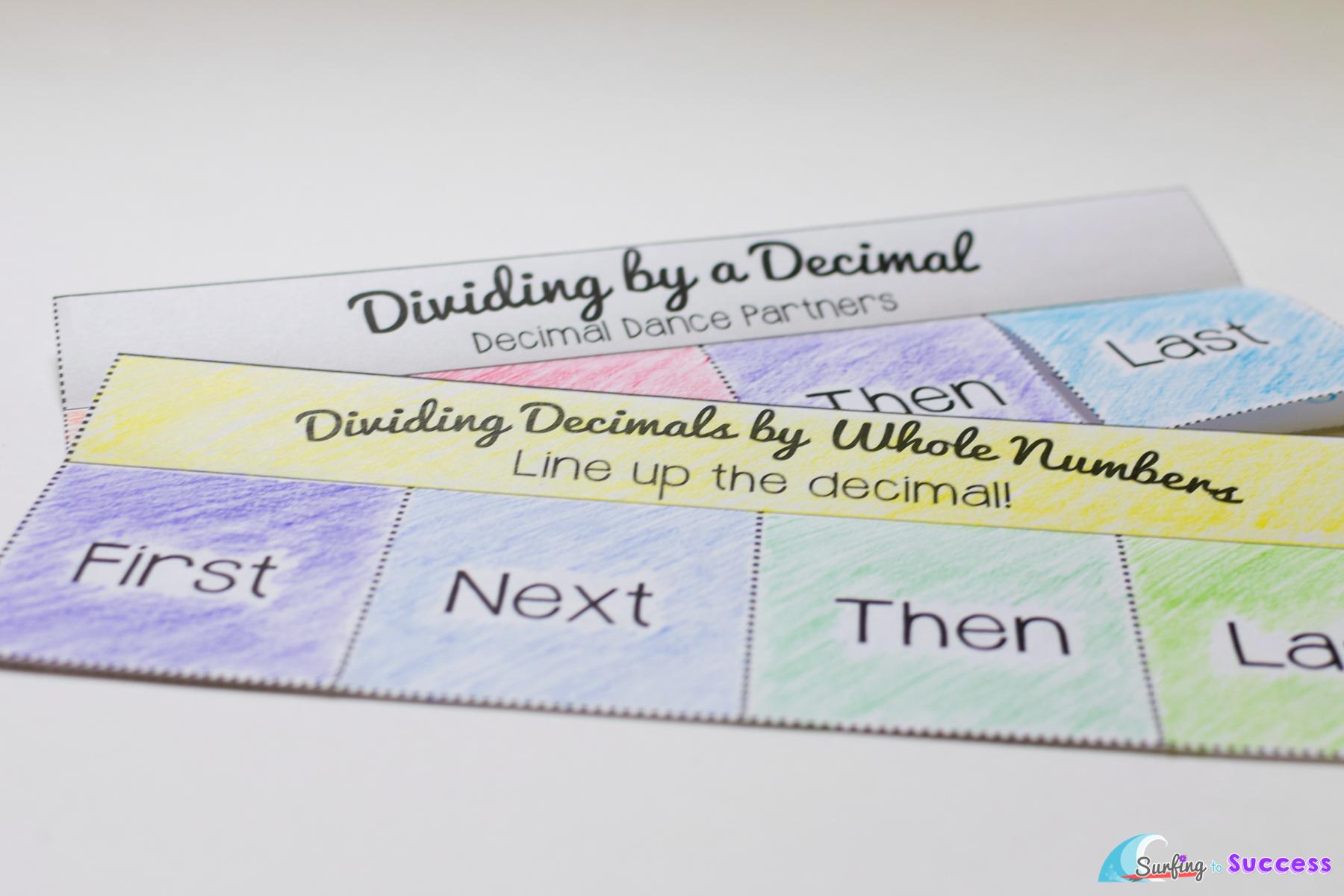 Free Dividing Decimals Worksheets - Surfing to Success [ 1200 x 1800 Pixel ]