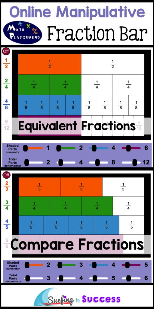 4 Online Fraction Manipulatives Math Playground Fraction Bar