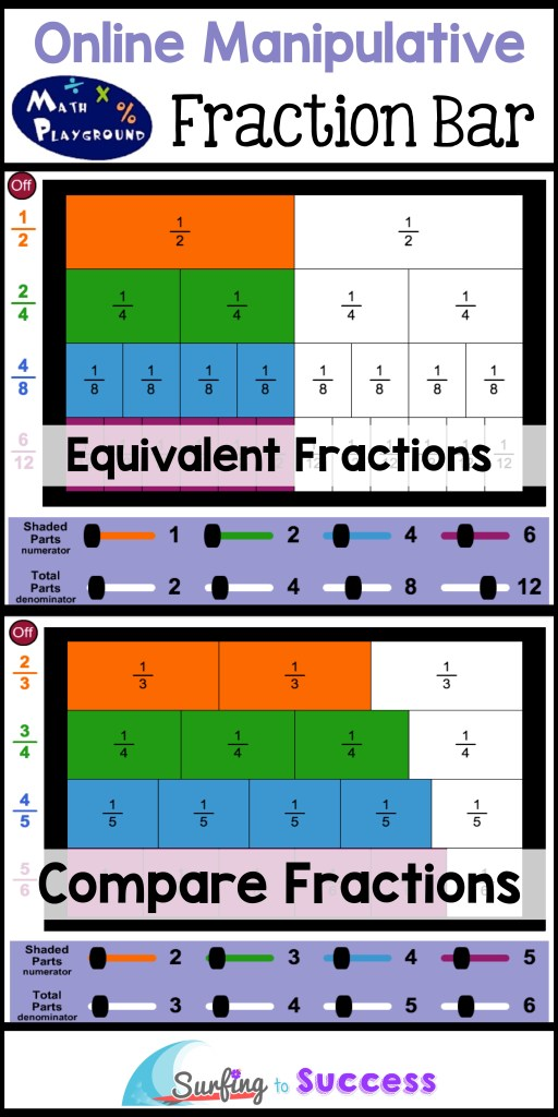 4 Online Fraction Manipulatives Math Playground Fraction Bar