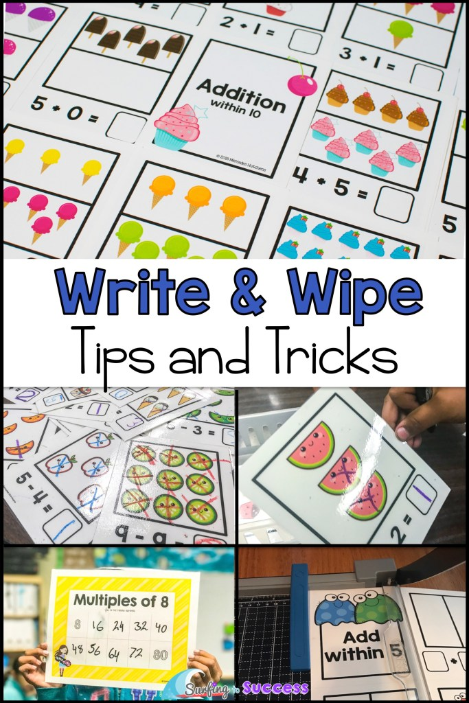 Tired of making copies? Write and Wipe printables can be great for centers. Check out these tips and tricks for using write and wipe cards. You'll also find great write and wipe addition cards, subtraction cards, and multiplication activities.