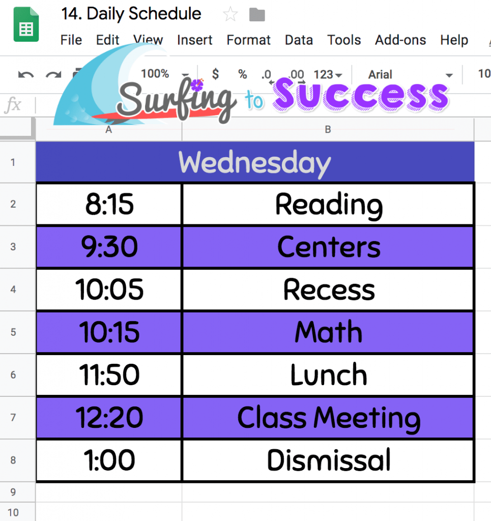 Google Sheet Daily Schedule 2