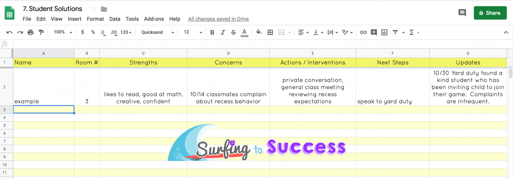 Google Sheet Student Solutions