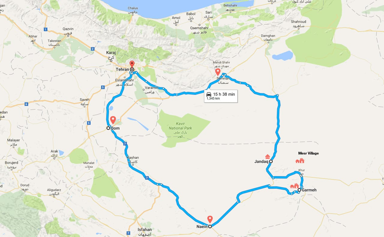 Iran Desert Tour Map for Overnight Desert Safari in Central Desert of Iran