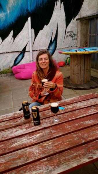 drinking Guinness in Bundoran