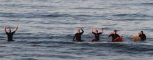 surfers on boards waving