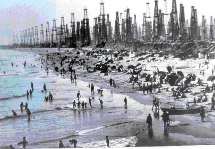Huntington Beach oil wells - blue