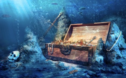 treasure chest at bottom of sea