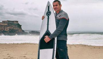 Garrett McNamara and surfboard