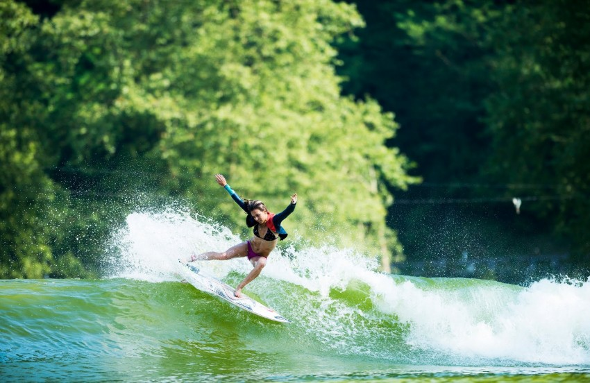 WSL Pro Surfer and Firewire Team Rider Sally Fitzgibbons enjoying a session on Wavegarden's 2.0 prototype surf lagoon