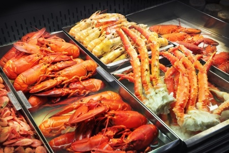 lobster, crab legs and shrimp