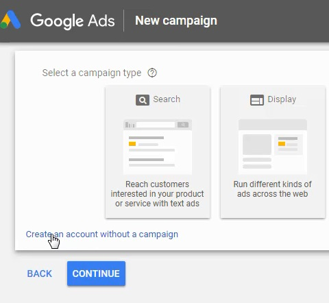 crea un account Google Ads senza una campagna