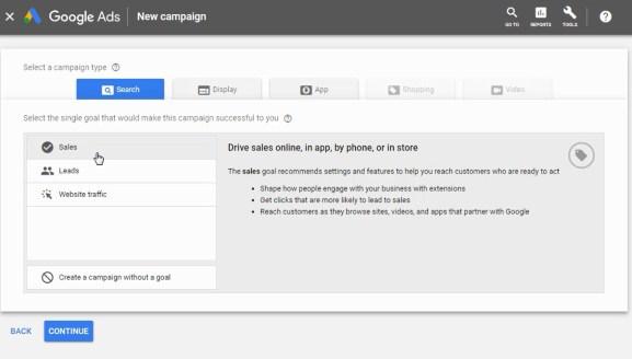 scegli il tipo di campagna di annunci google
