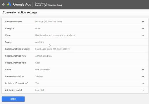 impostazioni di monitoraggio delle conversioni di annunci google
