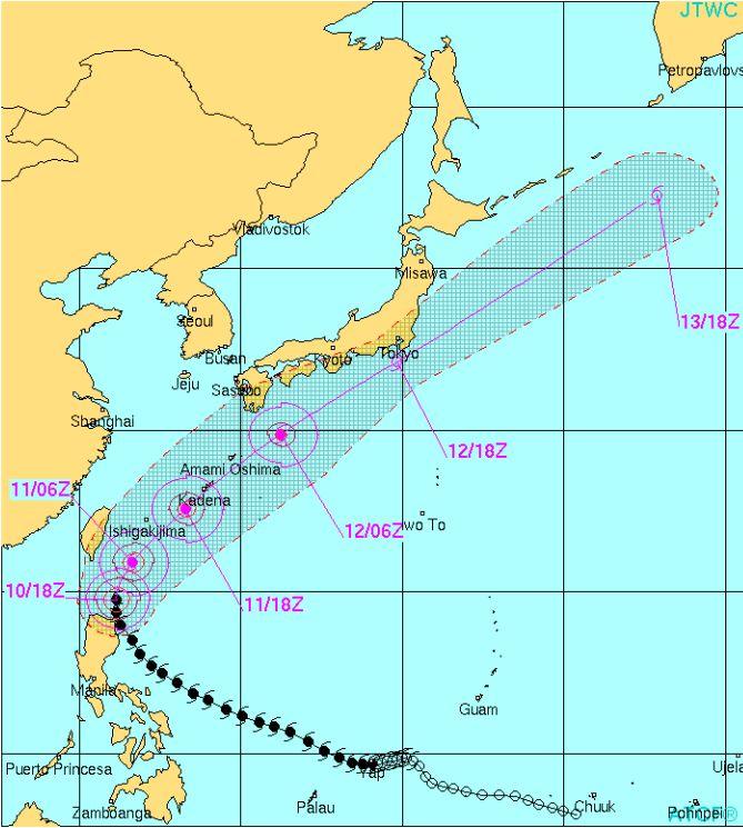 台風6号ノウル 直撃か