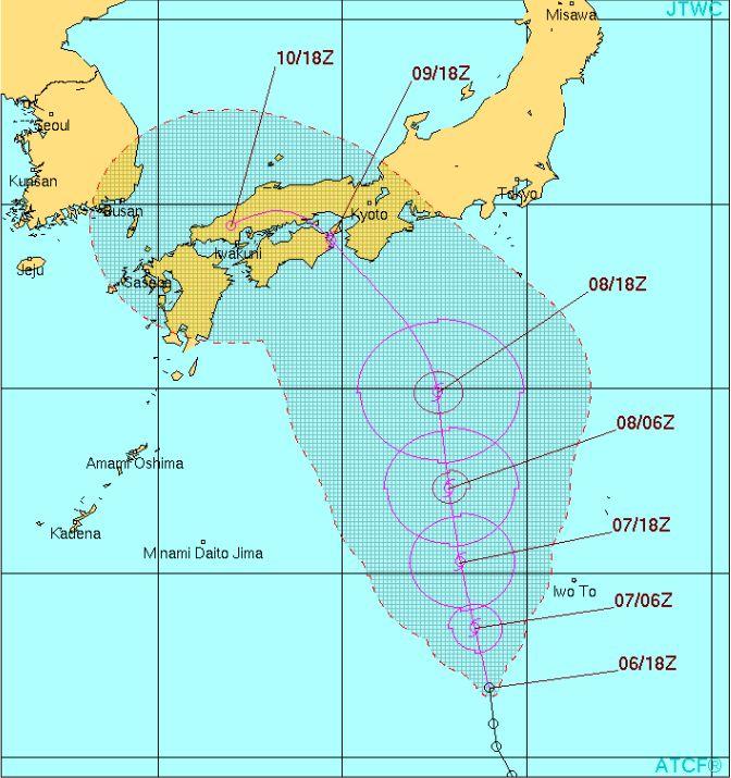 台風18号の進路
