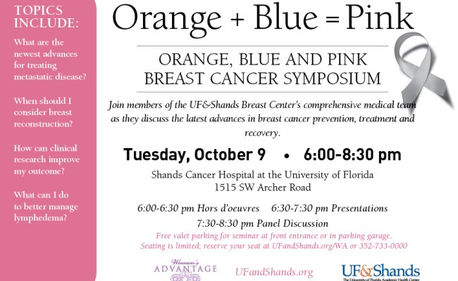 Orange Blue And Pink Breast Cancer Symposium Department