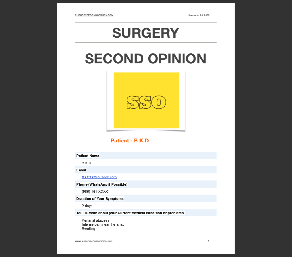 Online Second opinion about surgery India